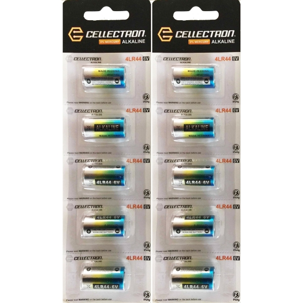 10 x Alkaline battery 4LR44 / A544 / PX28 - 6V Cellectron