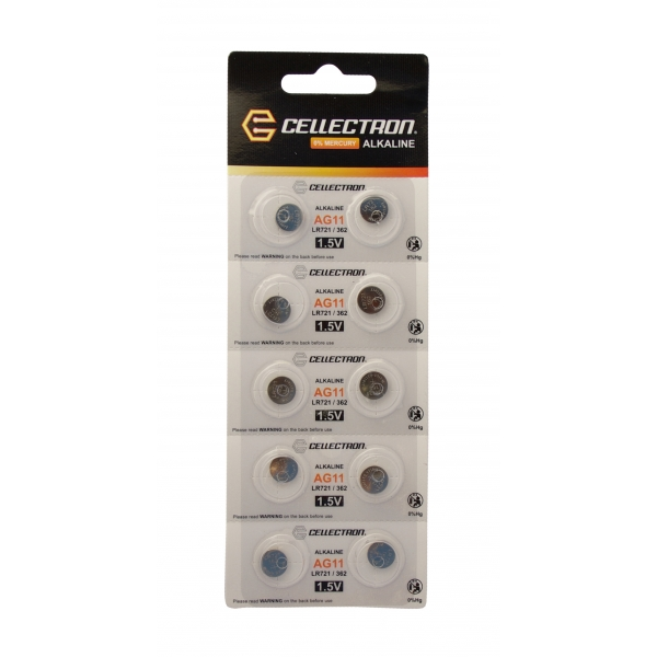 AG11 10 button cell battery AG11 / LR721 / 362 1,5V Cellectron