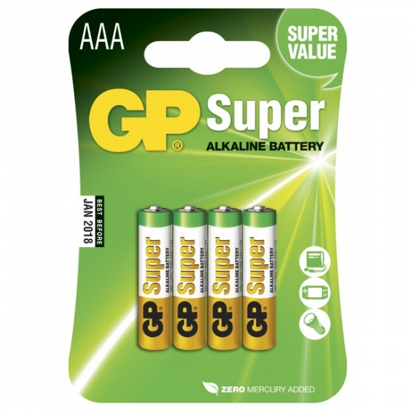 Alkaline battery 4 x AAA / LR03 - 1,5V - GP Battery