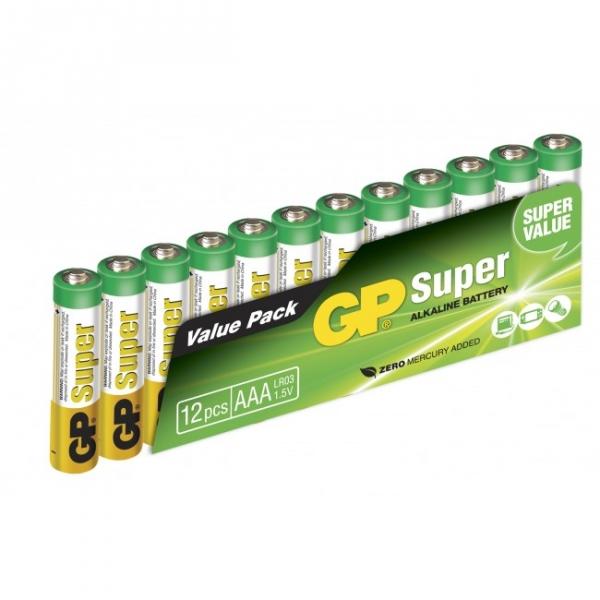 Alkaline battery 12 x AAA / LR03 SUPER - 1,5V - GP Battery