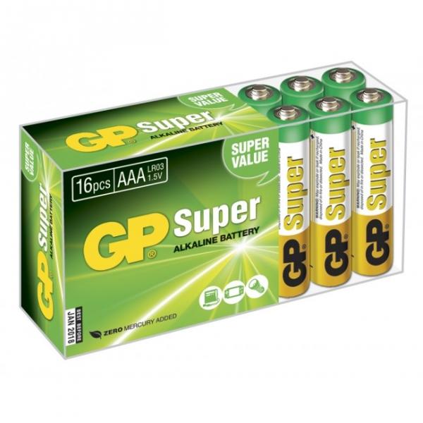 Alkaline battery 16 x AAA / LR03 SUPER - 1,5V - GP Battery