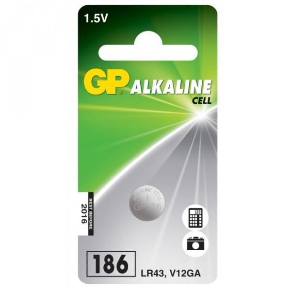 Alkaline button cell battery 1 x GP 186 / LR43 / V12GA - 1,5V - GP Battery