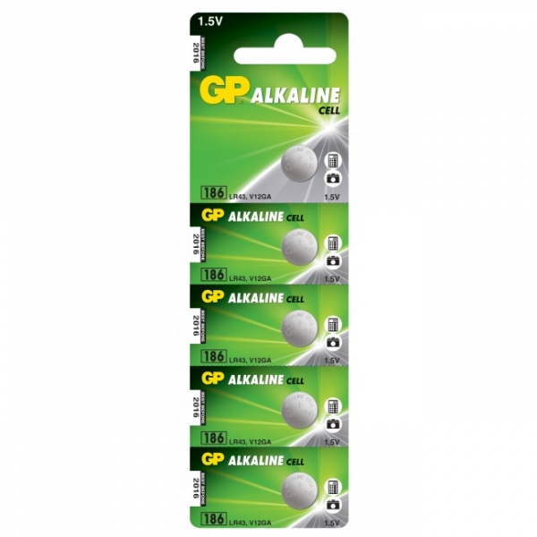 Alkaline button cell battery 5 x GP 186 / LR43 / V12GA - 1,5V - GP Battery