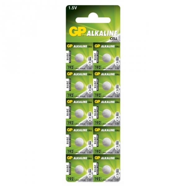 Alkaline button cell battery 10 x GP 192 / LR41 / V3GA / - 1,5V - GP Battery