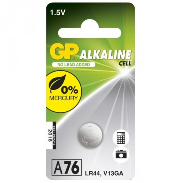 Alkaline button cell battery GP A76 / LR44 / V13GA - 1,5V - GP Battery