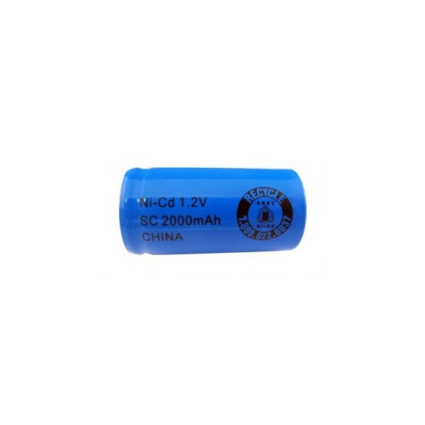 NiCD battery Sub C 2000 mAh flat head - 1,2V - Evergreen