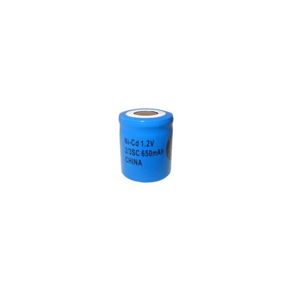 NiCD battery 2/3 Sub C 650 mAh flat head - 1,2V - Evergreen